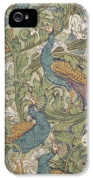 Arts And Crafts Movement iPhone 5 Cases - Peacock Garden wallpaper iPhone 5 Case by Walter Crane