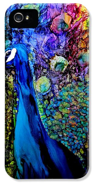 Blue Bird iPhone 5 Cases - Peacock II iPhone 5 Case by Karen Walker