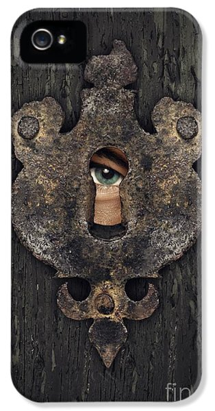 Eyeball iPhone 5 Cases - Peeking Eye iPhone 5 Case by Carlos Caetano