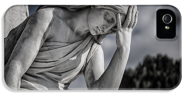 Stone iPhone 5 Cases - Pensive Angel at Heredia Cemetery iPhone 5 Case by Andres Leon