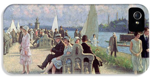 Danish iPhone 5 Cases - People On A Promenade Oil On Canvas iPhone 5 Case by Paul Fischer