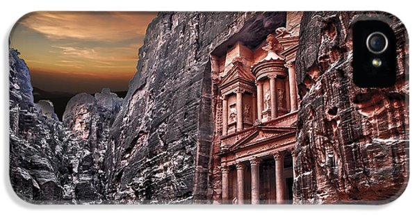 Al-khazneh iPhone 5 Cases - Petra the Treasury iPhone 5 Case by Dan Yeger