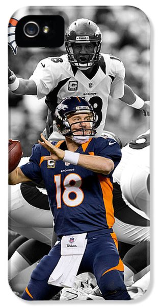 Padded iPhone 5 Cases - Peyton Manning Broncos iPhone 5 Case by Joe Hamilton