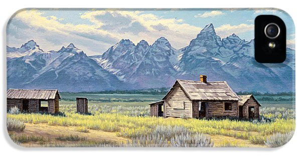 Old Houses iPhone 5 Cases - Pfeiffer Homestead-Tetons iPhone 5 Case by Paul Krapf