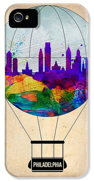 Philadelphia iPhone 5 Cases - Philadelphia Air Balloon iPhone 5 Case by Naxart Studio