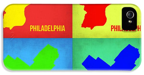 Philadelphia iPhone 5 Cases - Philadelphia Pop Art Map 1 iPhone 5 Case by Naxart Studio