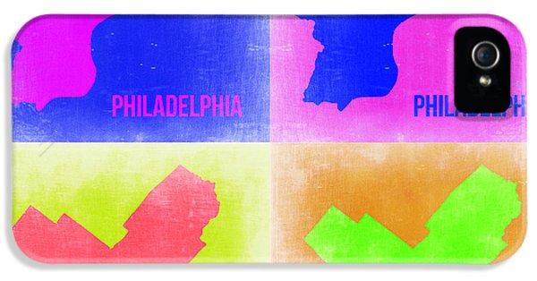 Philadelphia iPhone 5 Cases - Philadelphia Pop Art Map 2 iPhone 5 Case by Naxart Studio