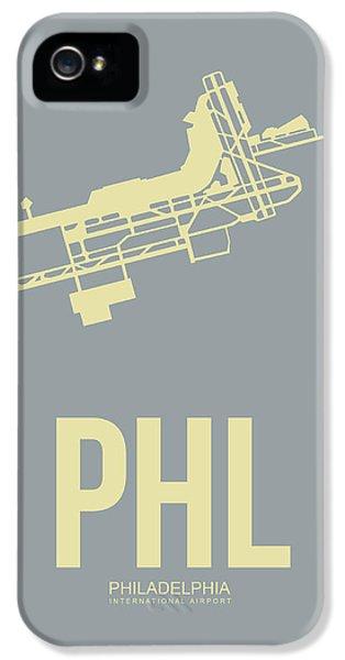 Philadelphia iPhone 5 Cases - PHL Philadelphia Airport Poster 1 iPhone 5 Case by Naxart Studio