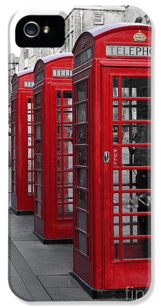 Communication iPhone 5 Cases - Phone boxes on the Royal Mile iPhone 5 Case by Jane Rix