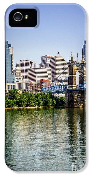 2012 iPhone 5 Cases - Photo of Cincinnati Skyline and Roebling Bridge iPhone 5 Case by Paul Velgos