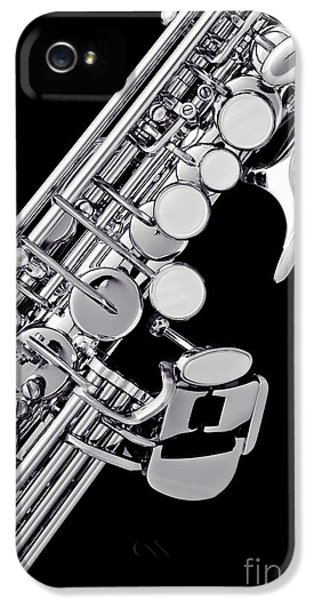 Rock And Roll Photographs Pictures iPhone 5 Cases - Photograph of a Soprano Saxophone Sepia 3355.01 iPhone 5 Case by M K  Miller