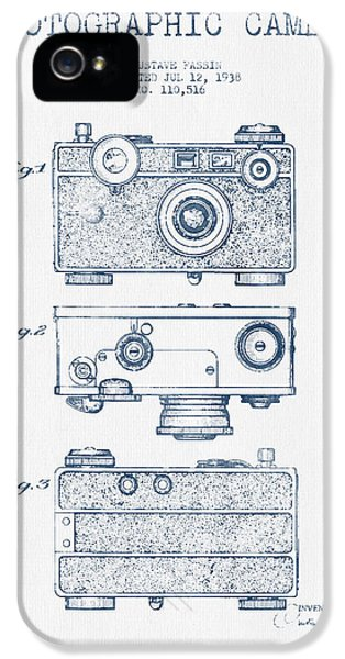Film Watercolor iPhone 5 Cases - Photographic Camera Patent Drawing from 1938- Blue Ink iPhone 5 Case by Aged Pixel
