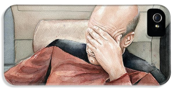 Sci Fi Art iPhone 5 Cases - Picard Facepalm Meme Watercolor iPhone 5 Case by Olga Shvartsur