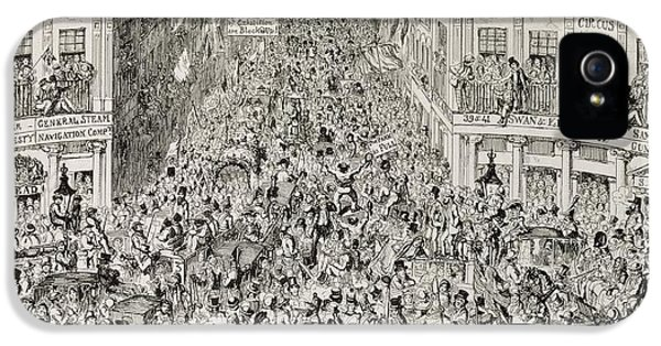 Celebration iPhone 5 Cases - Piccadilly during the Great Exhibition iPhone 5 Case by George Cruikshank