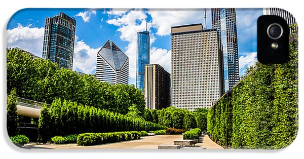 One Prudential Plaza Building iPhone 5 Cases - Picture of Chicago Skyline with Millennium Park Trees iPhone 5 Case by Paul Velgos