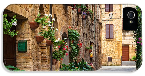 Tourism iPhone 5 Cases - Pienza Street iPhone 5 Case by Inge Johnsson