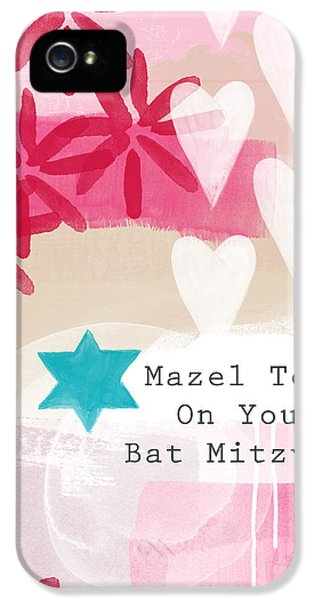 Judaica iPhone 5 Cases - Pink and White Bat Mitzvah- Greeting Card iPhone 5 Case by Linda Woods