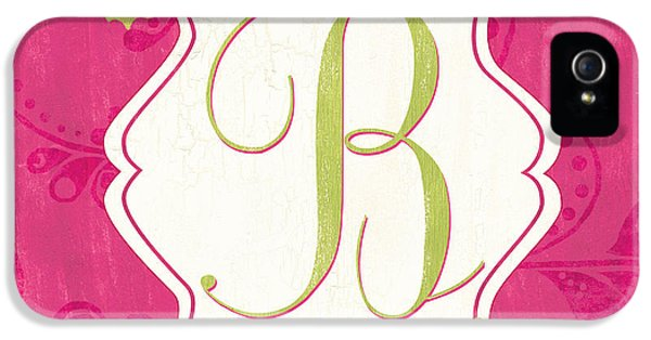 Pink Butterfly Monogram IPhone 5 / 5s Case by Debbie DeWitt