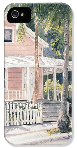 Porch iPhone 5 Cases - Pink House iPhone 5 Case by Lucie Bilodeau