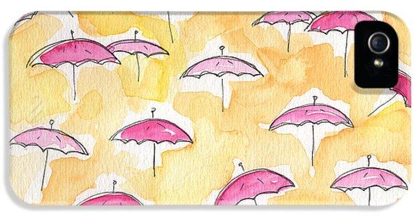 Umbrella iPhone 5 Cases - Pink Umbrellas iPhone 5 Case by Linda Woods