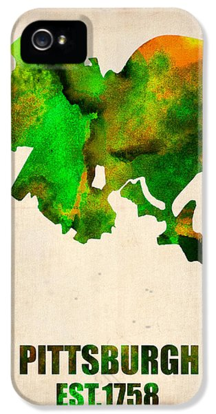 Atlas iPhone 5 Cases - Pittsburgh Watercolor Map iPhone 5 Case by Naxart Studio