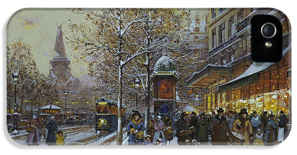 Old Tram iPhone 5 Cases - Place de la Republique Paris iPhone 5 Case by Eugene Galien-Laloue