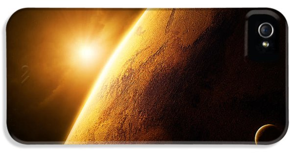 Solar System iPhone 5 Cases - Planet Mars close-up with sunrise iPhone 5 Case by Johan Swanepoel