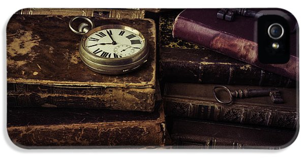 Timepiece iPhone 5 Cases - Pocket Watch On Old Book iPhone 5 Case by Garry Gay