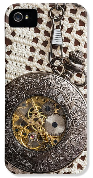 Timepiece iPhone 5 Cases - Pocket Watch over Lace iPhone 5 Case by Edward Fielding