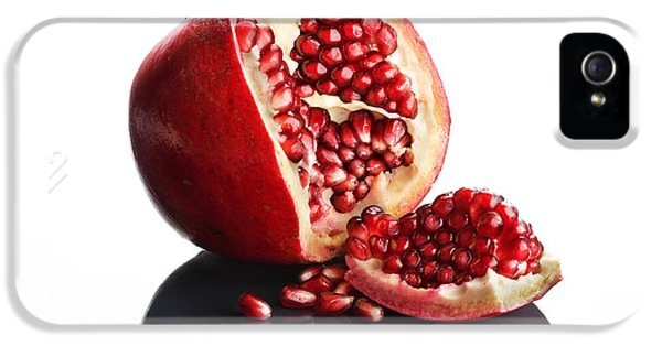 Indoors iPhone 5 Cases - Pomegranate opened up on reflective surface iPhone 5 Case by Johan Swanepoel