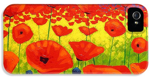 Decorative Art iPhone 5 Cases - Poppy Field V iPhone 5 Case by John  Nolan