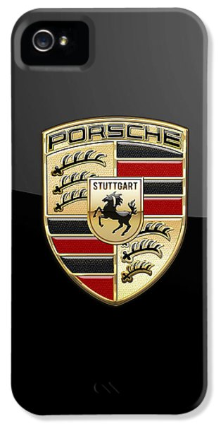 Badge iPhone 5 Cases - Porsche - 3D Badge on Black iPhone 5 Case by Serge Averbukh