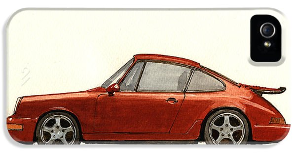 Classic Porsche 911 iPhone 5 Cases - Porsche 911 964 RS iPhone 5 Case by Juan  Bosco