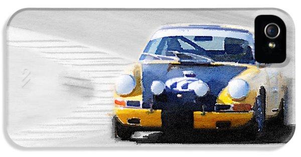 Porsche 911 iPhone 5 Cases - Porsche 911 on Race Track Watercolor iPhone 5 Case by Naxart Studio