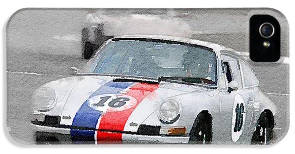 Porsche 911 iPhone 5 Cases - Porsche 911 Race in Monterey Watercolor iPhone 5 Case by Naxart Studio