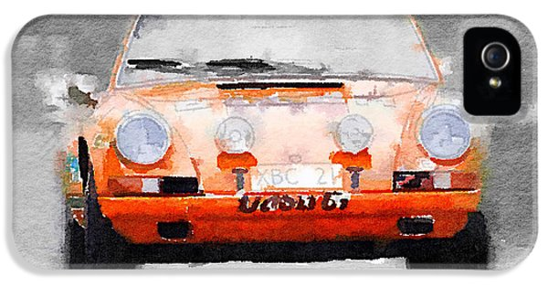 Porsche 911 iPhone 5 Cases - Porsche 911 Race Track Watercolor iPhone 5 Case by Naxart Studio