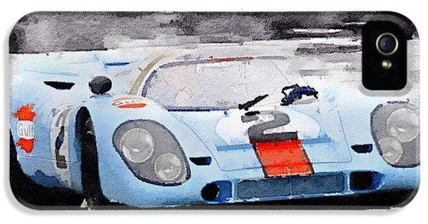 Porsche 917 Gulf Watercolor IPhone 5 / 5s Case by Naxart Studio