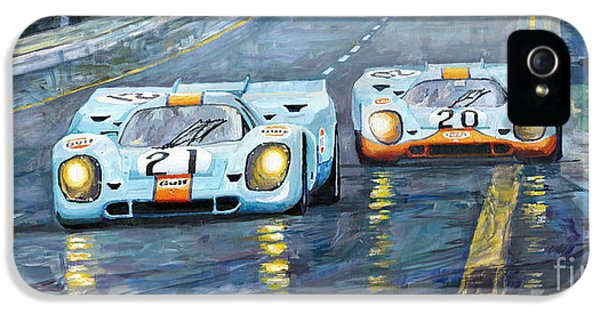 Automotive iPhone 5 Cases - Porsche 917 K GULF Spa Francorchamps 1970 iPhone 5 Case by Yuriy  Shevchuk