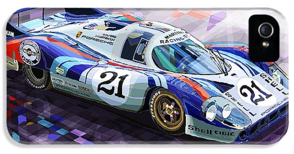 Automotive iPhone 5 Cases - Porsche 917 LH Larrousse Elford 24 Le Mans 1971 iPhone 5 Case by Yuriy  Shevchuk