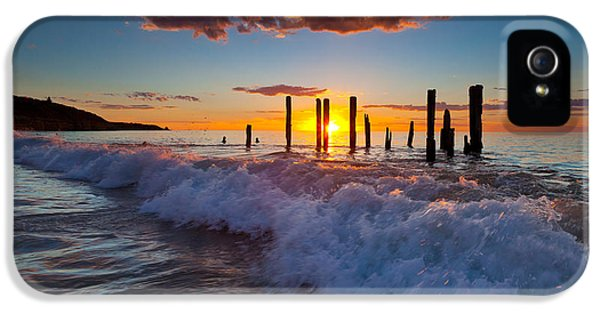 Ruins iPhone 5 Cases - Port Willunga Jetty Ruins Sunset iPhone 5 Case by Bill  Robinson