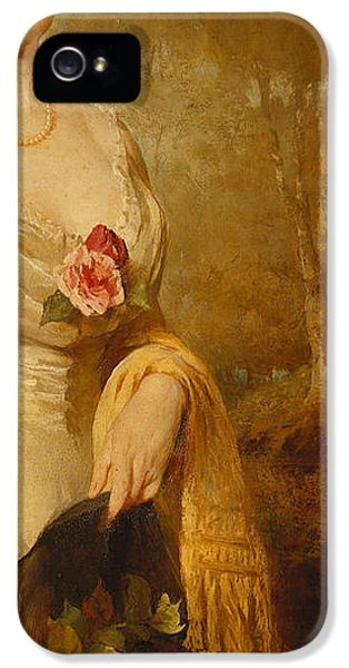 Clothing iPhone 5 Cases - Portrait of a Lady in a White Dress iPhone 5 Case by George Elgar Hicks