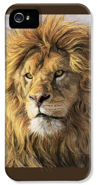Male iPhone 5 Cases - Portrait Of A Lion iPhone 5 Case by Lucie Bilodeau