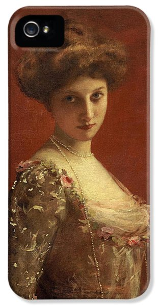 Fin De Siecle iPhone 5 Cases - Portrait of the actress Jane Henriot iPhone 5 Case by Carolus-Duran