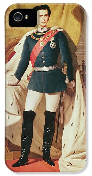 Insanity iPhone 5 Cases - Portrait Of Ludwig Ii 1845-86of Bavaria In Uniform, 1865 Oil On Canvas iPhone 5 Case by Ferdinand II Piloty