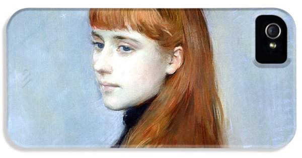 Wife iPhone 5 Cases - Portrait Of Mademoiselle Alice Guerin Oil On Canvas Detail Of 154179 iPhone 5 Case by Paul Cesar Helleu