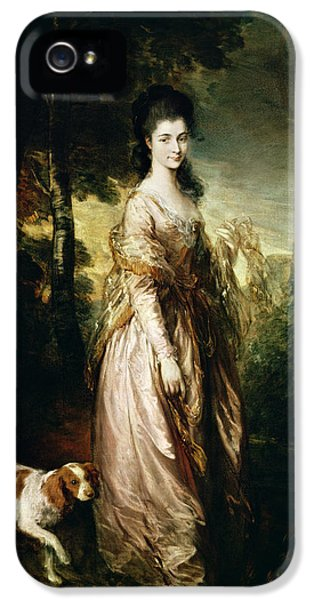 Wife iPhone 5 Cases - Portrait Of Mrs. Lowndes-stone 1758-1837 C.1775 Oil On Canvas iPhone 5 Case by Thomas Gainsborough