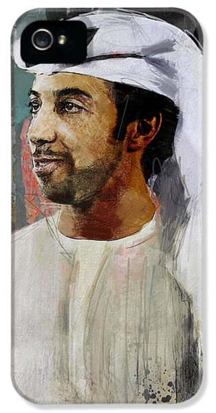 Chairman iPhone 5 Cases - Portrait of Sheikh Mansour iPhone 5 Case by Maryam Mughal