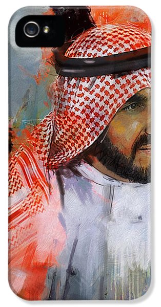 Mohammad iPhone 5 Cases - Portrait of Sheikh Saqr bin Mohammad al Qasimi iPhone 5 Case by Maryam Mughal