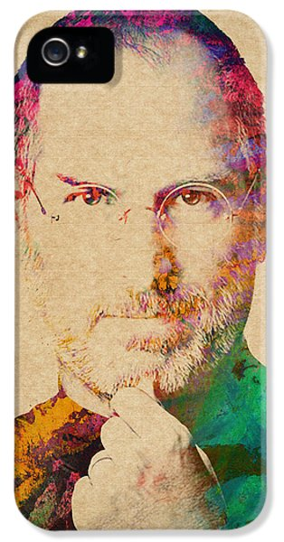 Computer iPhone 5 Cases - Portrait of Steve Jobs iPhone 5 Case by Aged Pixel