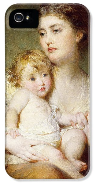 Boys Only iPhone 5 Cases - Portrait of the Duchess of St Albans with her Son iPhone 5 Case by George Elgar Hicks